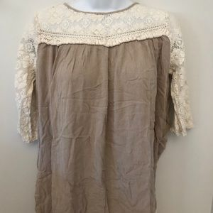 Khaki gauze and cream lace tunic size small